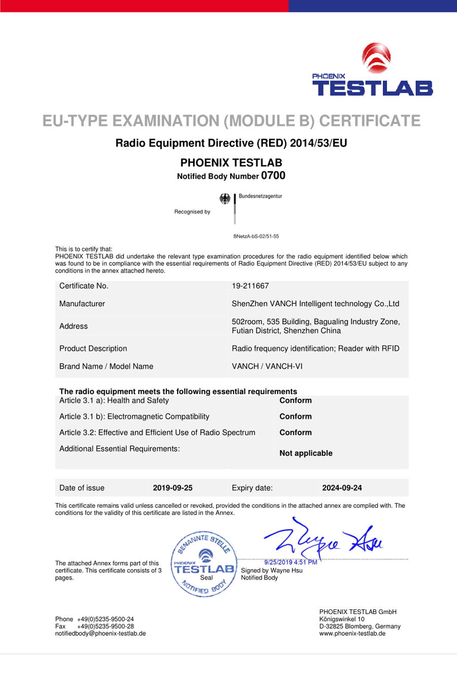 VANCH VI RFID CE Certification