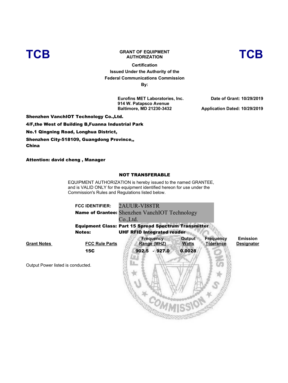 VANCH VI-88T FCC Certification